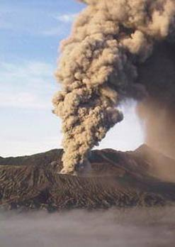 An eruption of active volcano Mt. Bromo - East Java, Malang