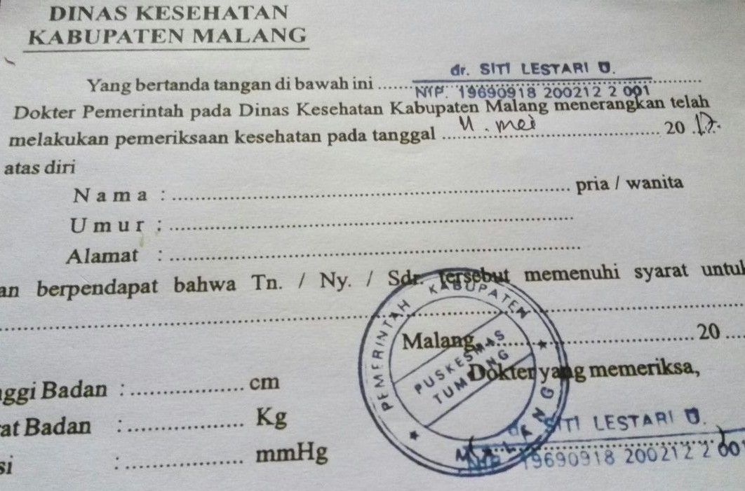 Health certificate issued by Puskesmas in Tumpang - needed for your hike to mount Semeru