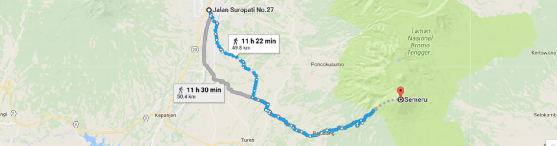 Hike from Malang city center to the top of mount Semeru